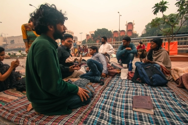 Students and other participants routinely meet at the site, often informally, to chat about issues that concern or trouble them. These casual conversations form a crucial part of the movement trajectory, for it is here that some major decisions are taken, concessions arrived at, and reconciliations accomplished. Amidst the tumult of defiance and disobedience, these mattresses are the islands of necessary intellectualism.