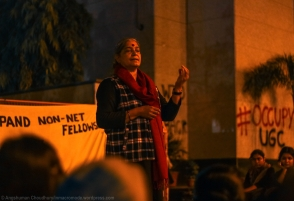 """Anne Raja, the Convenor for the representatives from the National Federation of Indian Women (NFIW), clarified what stakes women have in the student-led struggle. """"Regardless of age and gender, education is an unconditional right of every citizen. The current government has slashed budgetary allocations in so many crucial sectors, like education. I myself was educated in a government school. But even in the remote village I come from, all the rickety government-run schools are being slowly replaced by high-cost, private ones. Without providing quality education on its own terms, the government has imposed a minimum qualification of """"Class 8 pass"""" for contesting Panchayat elections. But, there is no such academic criteria for those contesting elections to the state or national assemblies. All the state policies of the current government are against the interests of the common man. By 'Acche Din' (good days), did the government mean removal of university students from their classrooms onto the streets?"""""""