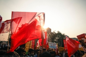 The march began with a 'common call' gathering of students. The bright red flags, reflecting the Leftist flavour of the demonstrations, were ubiquitous.