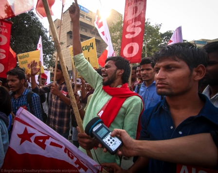 """The call gathering witnessed some intense sloganeering against a wide variety of entities - the government, the Prime Minister, the Union HRD Minister, UGC, and very often, against capitalism and commercialism. """"Hum kal jeete the, aaj bhi jeetenge/""""Tum kal haare the, aaj bhi haroge"""" (We won yesterday, we shall also win today/You lost yesterday, you will lose today) rang out particularly vividly and elaborately across the swarm of students."""