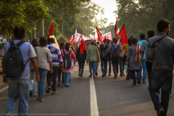As the marchers approached the vicinities of the MHRD building, the slogans intensified in strength and zest.