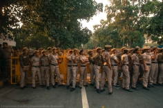 From the methodical and largish arrangement of police force, it seemed like the administration was prepared for a bigger marching contingent of students. After the initial skirmish along the first roped barricade, the situation settled down into passive listlessness for the police constables.