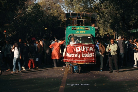 The rally was led, from the front, by the Delhi University Teachers' Association (DUTA) - on organisation that has been very vocal against what it sees as right-wing, authoritarian tendencies of the state.
