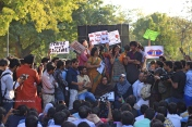 Seen here speaking, is a student of LSR college. She recounted her experience of being assaulted by male members of Delhi Police during a peaceful demonstration in DU North Campus on 22 February