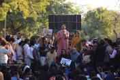 Seen here speaking, is Yogendra Yadav, chief of 'Swaraj Party' and a self-styled public intellectual who stands in alliance with those university students/professors who feel threatened by the policies of the BJP government