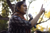 Seen here speaking, is Kavita Krishnan - President of All India Progressive Womens' Association (AIPWA). She was one of the key leaders in the popular resistance after the infamous 2012 Delhi rape case